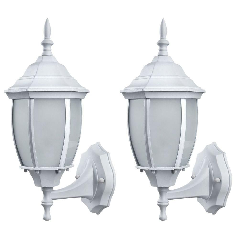 White Outdoor Lights Hayden 1Light Outdoor White Wall Lantern With Frosted Glass 2Pack