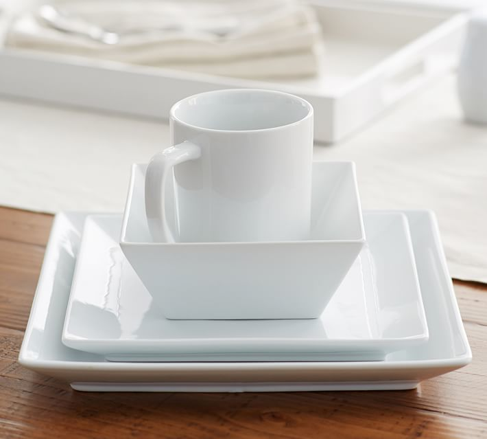 Pottery Barn Great White Square Dinner Plate Set of 4 & Pottery Barn Great White Square Dinner Plate Set of 4 | Products