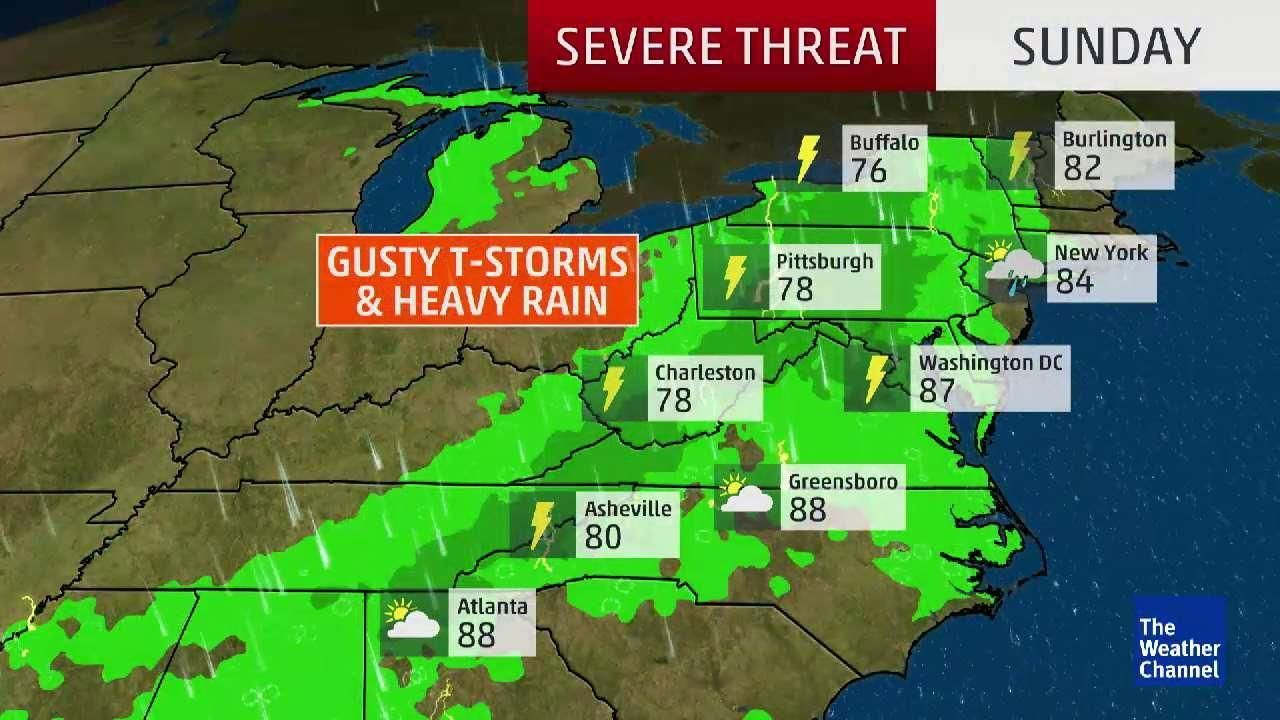 Rain and thunderstorms expected in the Northeast down to the Carolinas.