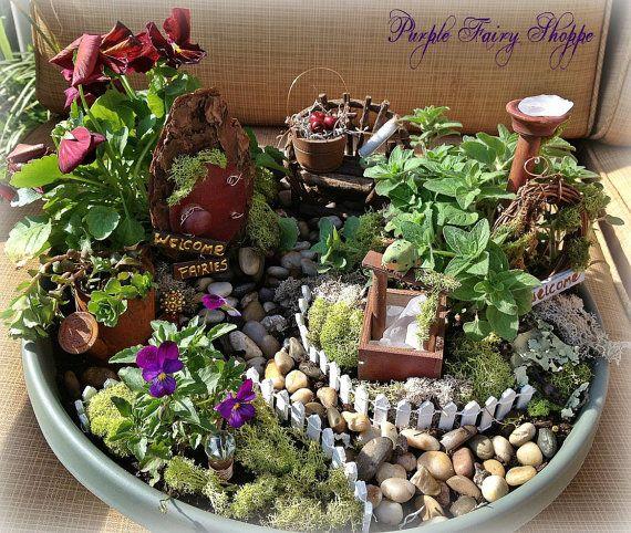 Rustic Fairy Garden Kit Fairy Garden Set By Purplefairyshoppe