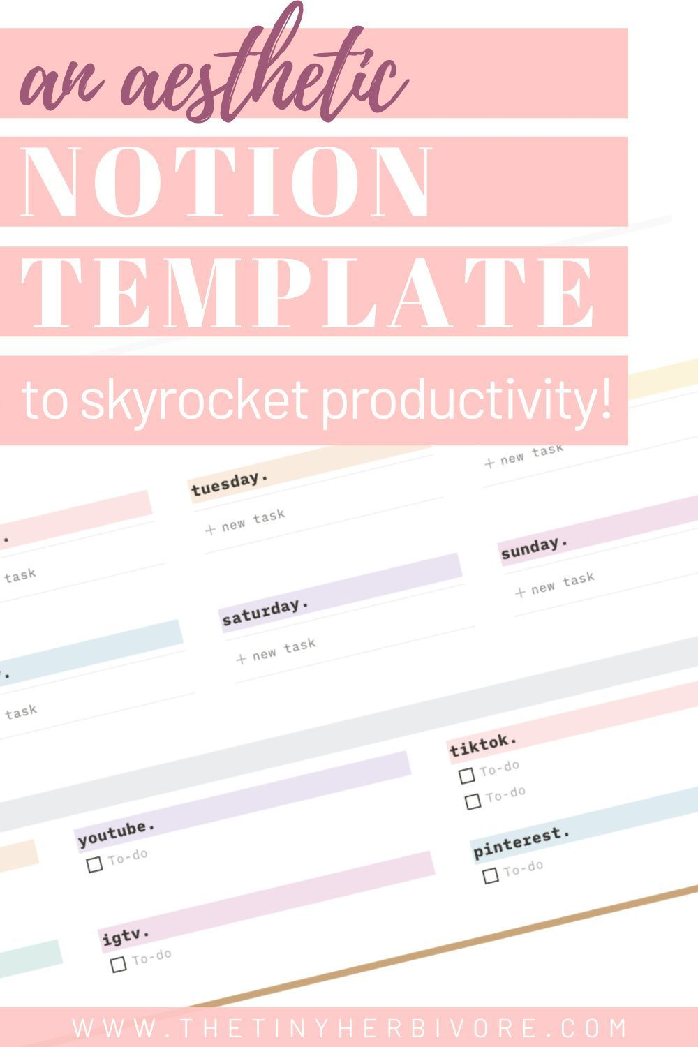 A Notion Template Idea For Ultimate Productivity The Tiny Herbivore In 2021 Blogging Advice Notions Productivity