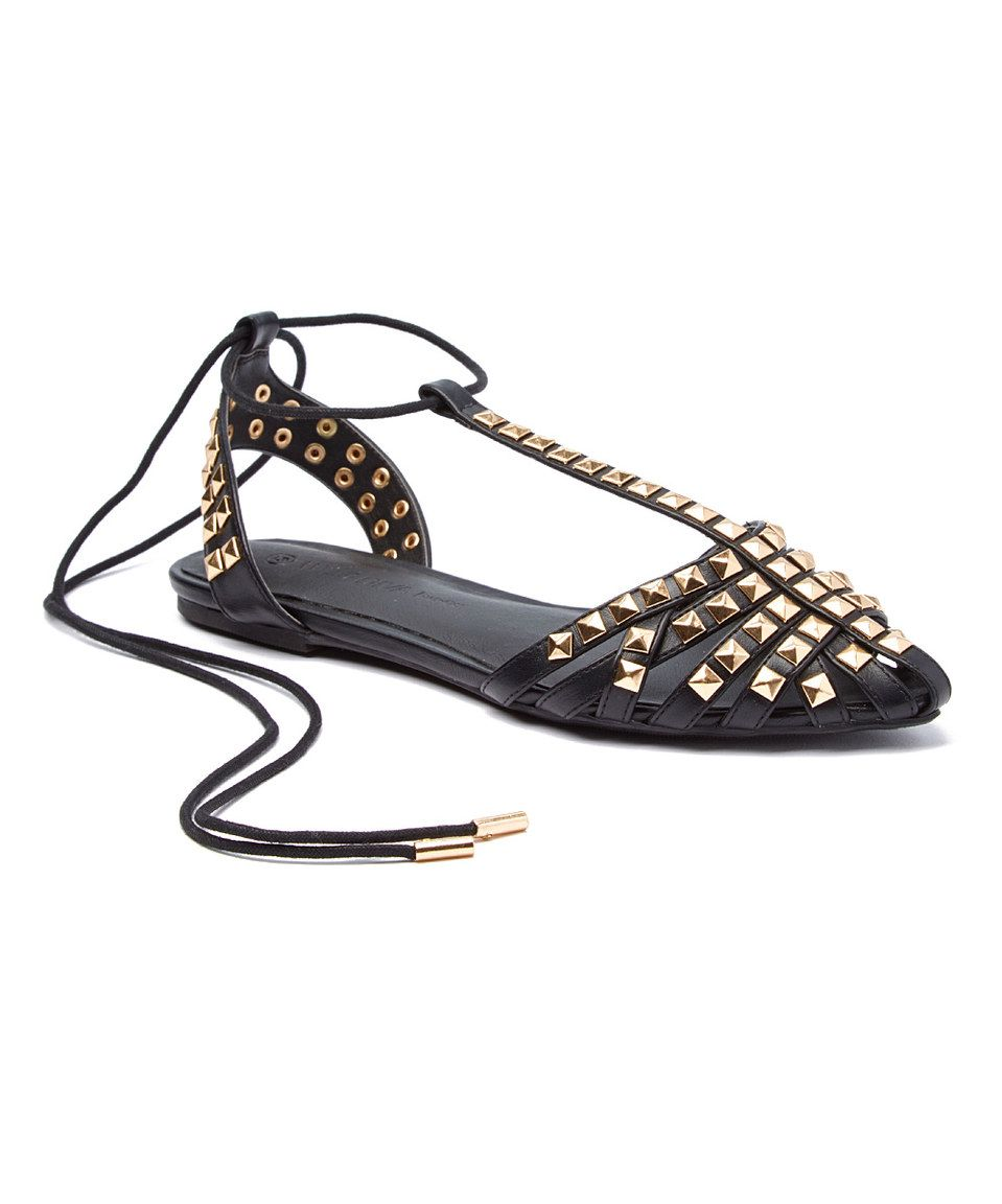 Loving this Wild Diva Black Stud Pippa D'Orsay Flat on #zulily! #zulilyfinds