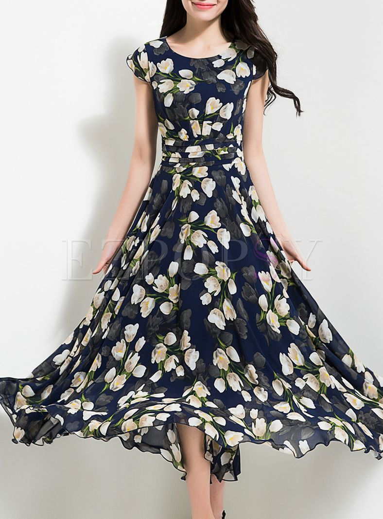 53aa8fb8edb0 Shop for high quality Elegant Flower Print Waist Maxi Dress online at cheap  prices and discover fashion at Ezpopsy.com
