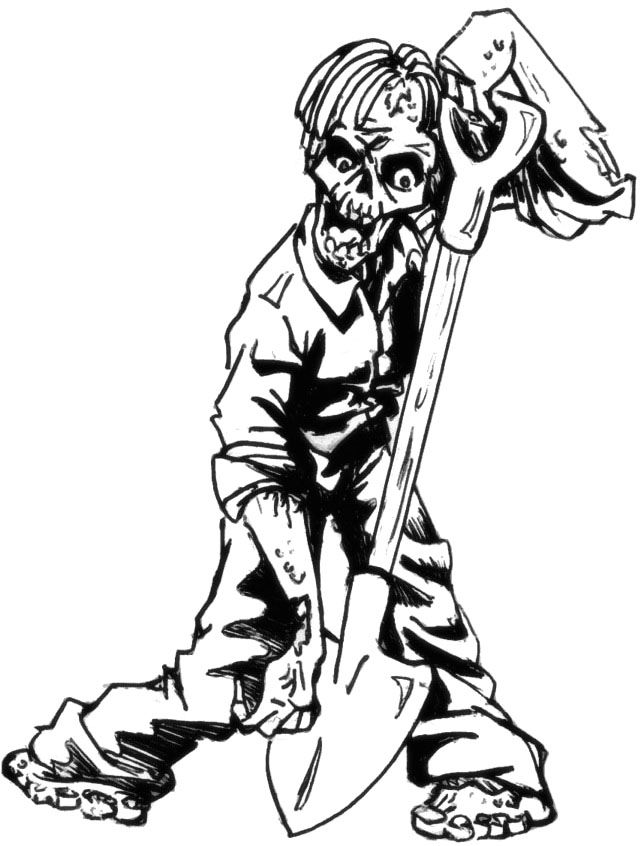 Zombie Burrowing Coloring Page | Zombie coloring ...