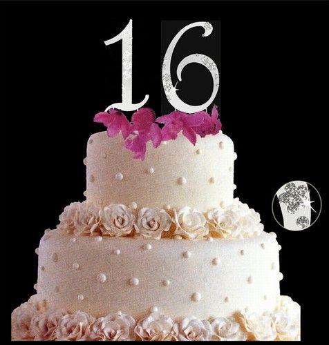 Nwt sweet 16 sixteen birthday cake topper set with swarovski