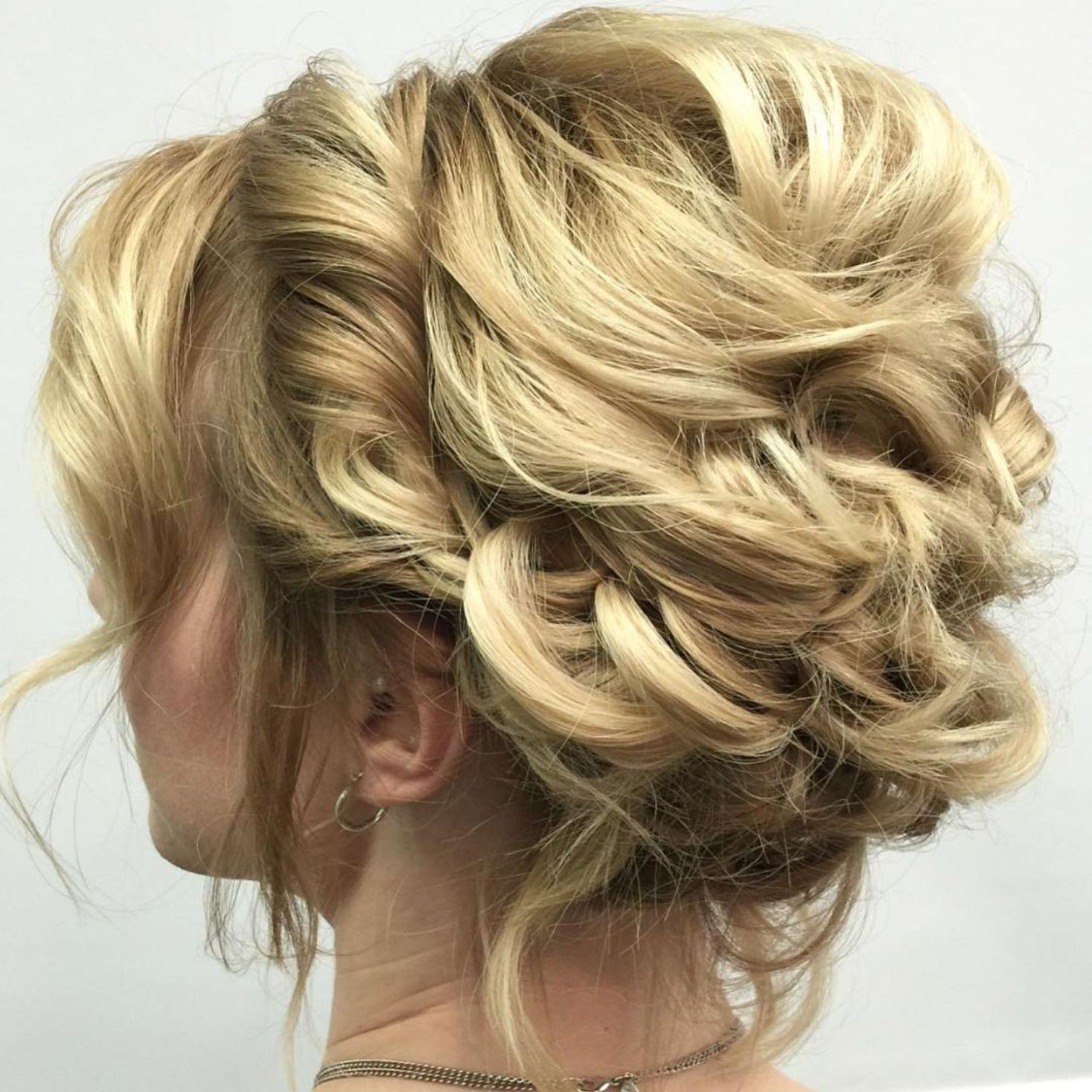 Blonde Messy Updo For Shorter Hair   Short hair updo ...