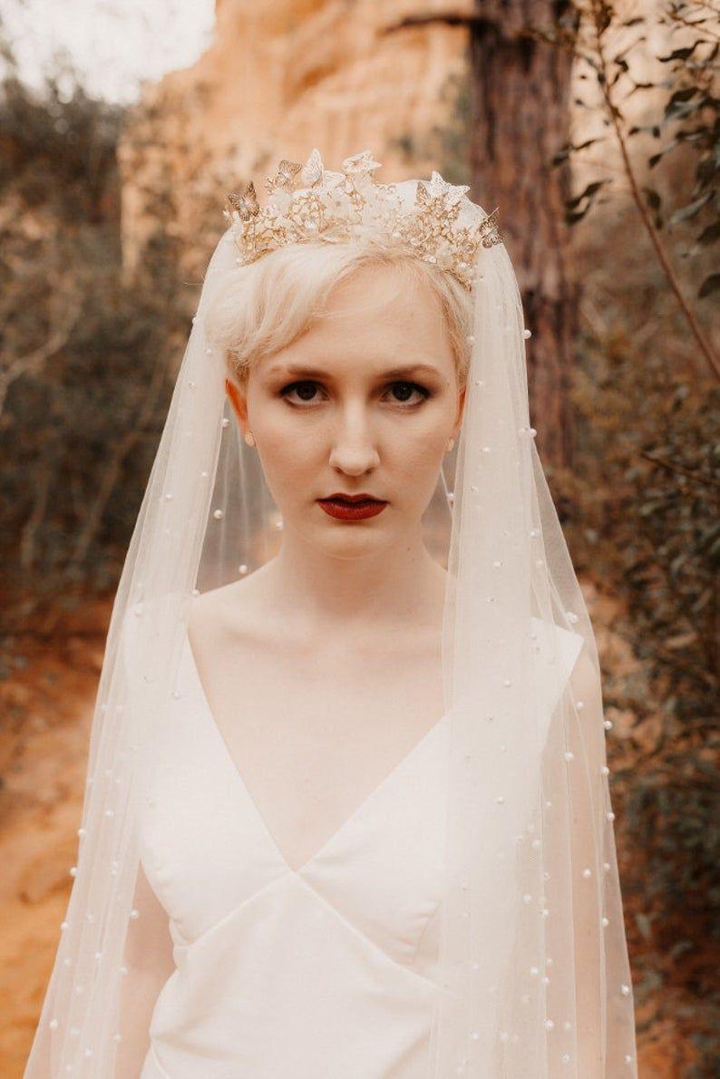 Ivory Pearl Wedding Veil Etsy Ivory Wedding Dress Disney Wedding Dresses Handmade Wedding Veils [ 1190 x 794 Pixel ]