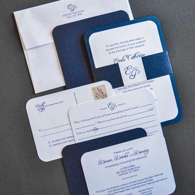 Haag/Clark Wedding Invitations - Tone on Tone Printing, Handmade Wedding invitations by The LL Studio