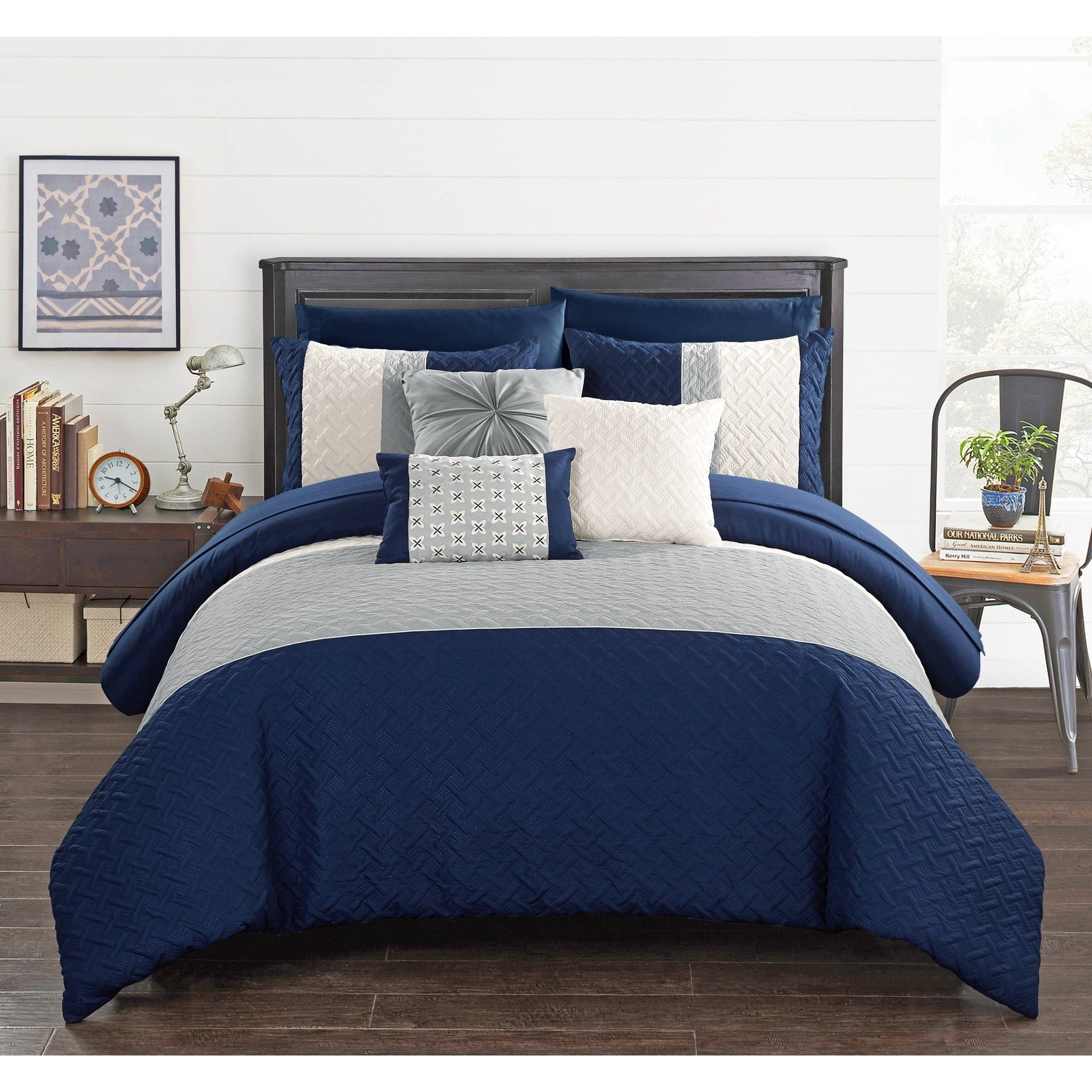 Chic Home 10 Piece Color Block Quilted Comforter Set Dark Blue