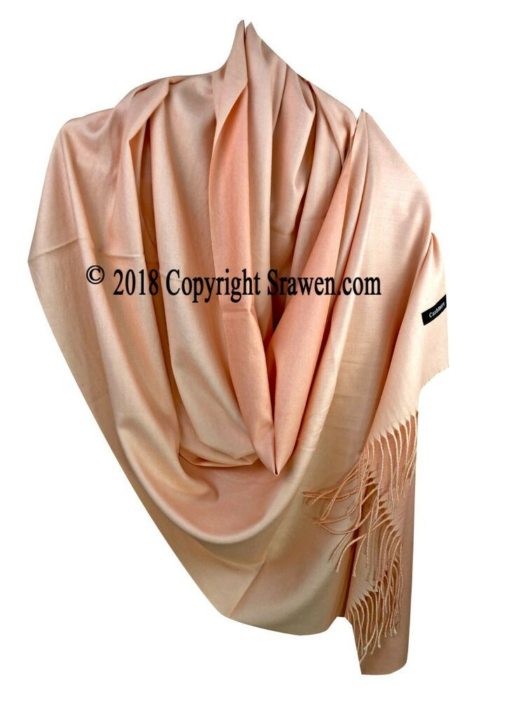 100/% Pure Cashmere Scarf Shawl Pashmina Wrap Hand Knitted Mens Women Grey Pink