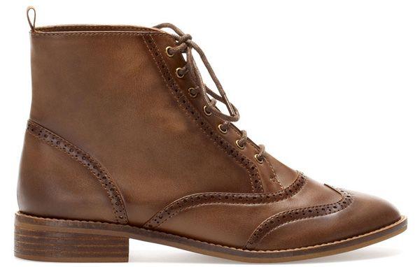 zapatos cordones otono invierno 2013 2014 stradivarius moda calzado mujer1 Zapatos oxford y botas y botines con cordones