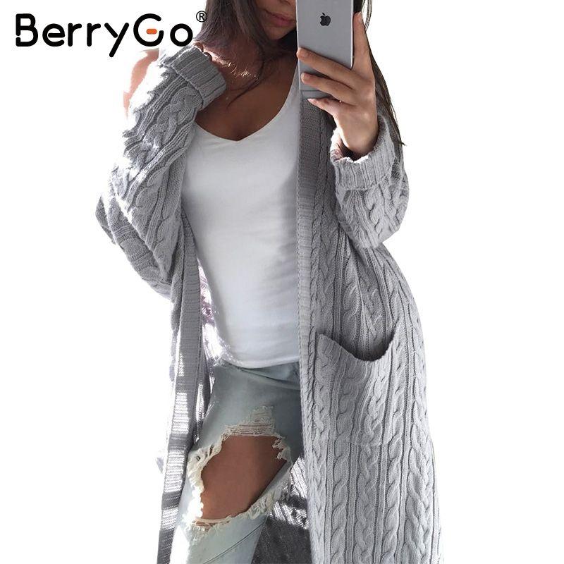 24a619f482 Barato BerryGo quente de manga Longa cardigan feminino Knitting longo  cardigan camisola das mulheres jumper bolso