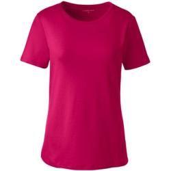 Short-sleeved ribbed crew neck shirt – Pink – 40-42 from Lands' End Lands' EndLands' End