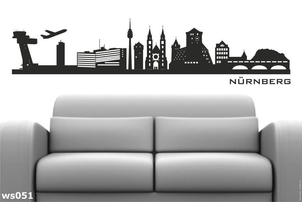 Ws051a Wandtattoo Wandaufkleber Skyline Nürnberg Motiv 1