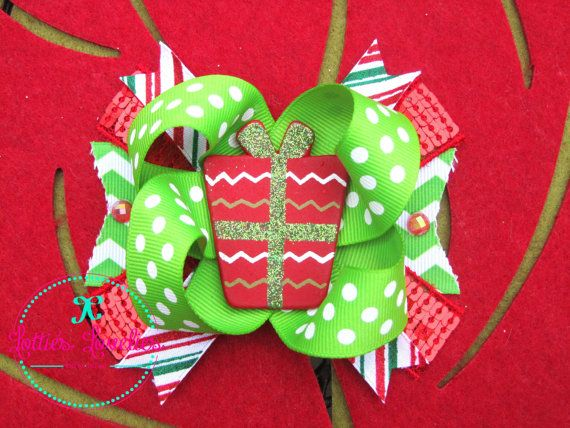 Hair Bow Girls Baby Xmas Holiday Hairbow by LottiesLoveliesBows, $5.99