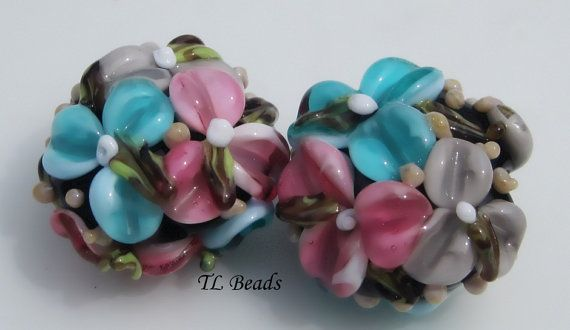 Handmade Turquoise and Pink Floral Bouquet Lampwork by TLBeads, $17.00