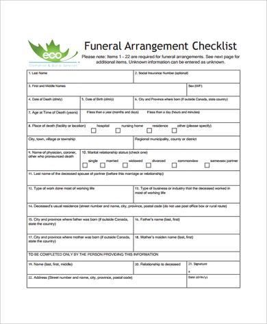 Sample Funeral Checklist Template  Documents In Pdf Psd Word