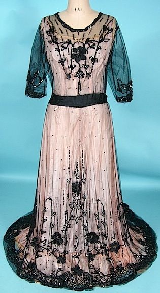 c. 1910 Black Sequin and Ribbon Embroidery on Net Edwardian Trained Overdress. Front