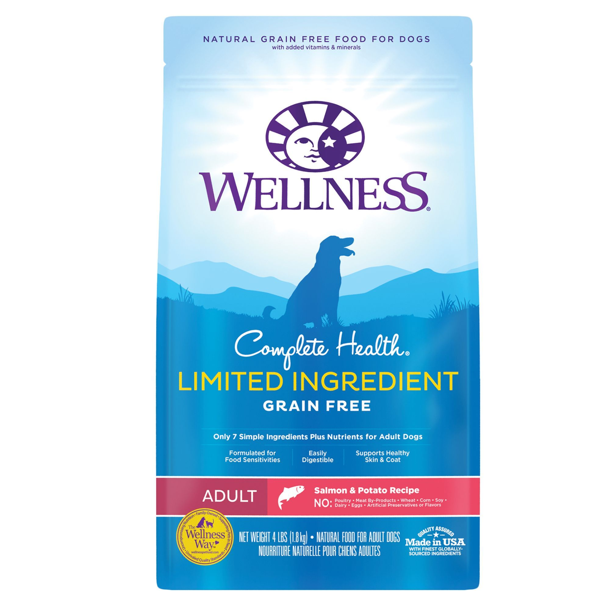 Wellness Complete Health Limited Ingredient Dog Food Natural Grain Free Salmon And Potato Size 4 Lb Pink Salmon Potato Adult Dog Food Recipes Limited Ingredient Dog Food Salmon Potato