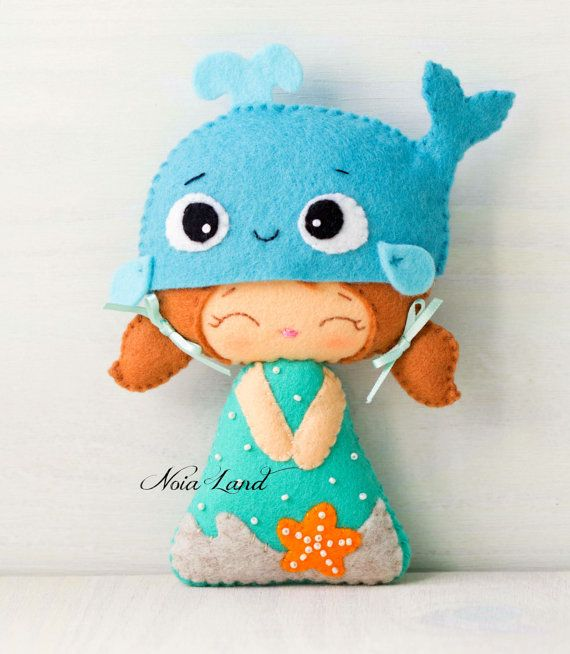 Beach doll. Crab and whale hats. PDF pattern. Felt doll | Pinterest ...