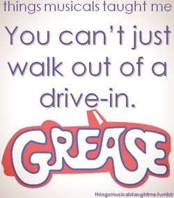 """Or Danny will be """"stranded at the drive-in, branded a fool, what will they say, monday at school"""" #grease"""