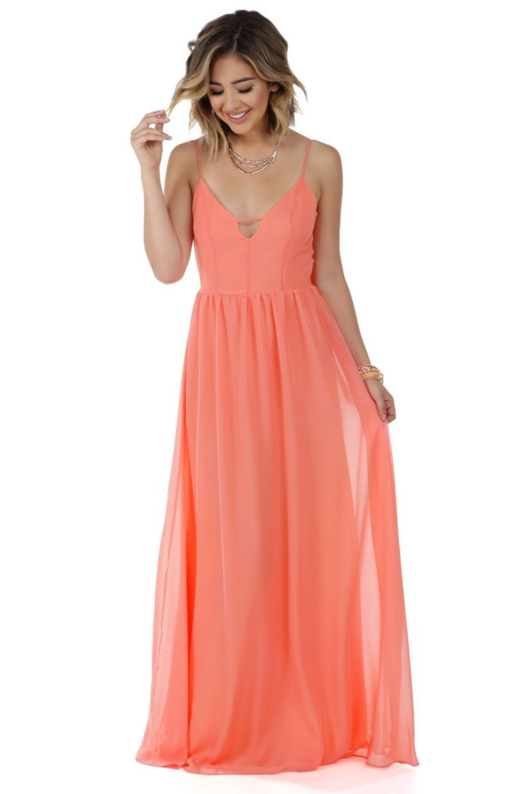 Polly Coral Chiffon Dress | WindsorCloud