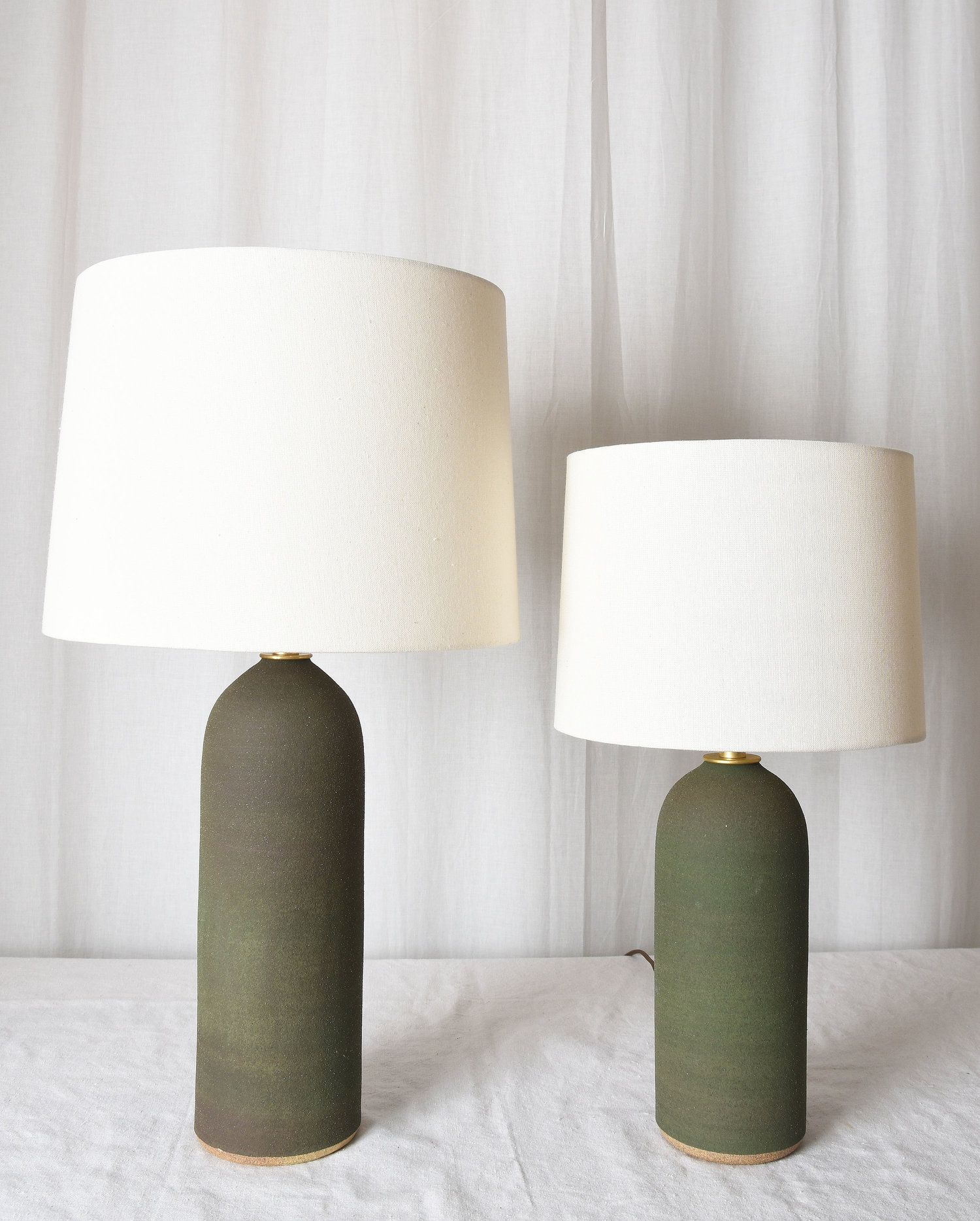 Matte Dark Olive Lamps Table Lamps For Bedroom Contemporary