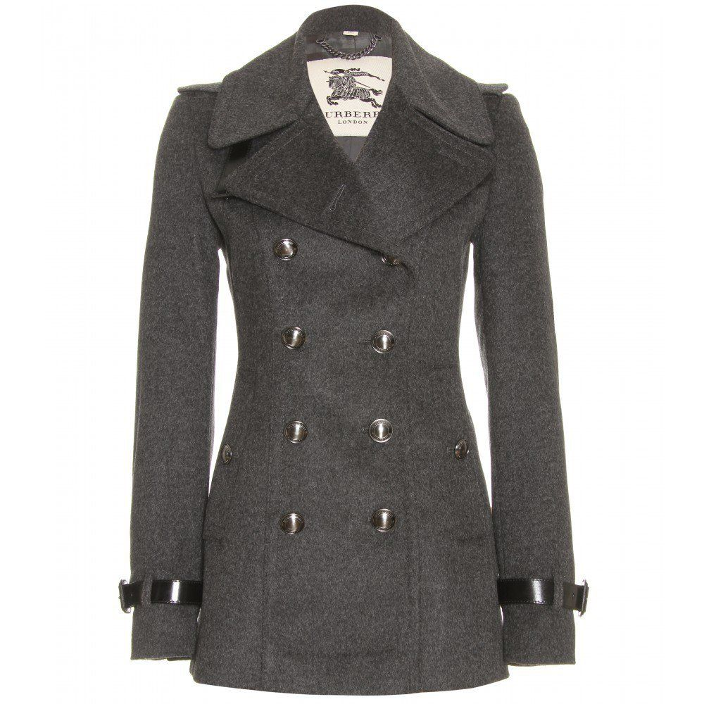 Gray pea coat women