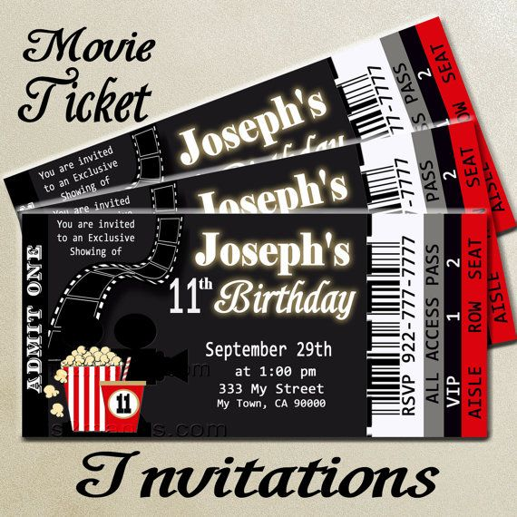 Movie Ticket Red Carpet Party Invitation Printable Invitation DIY – Ticket Birthday Party Invitations