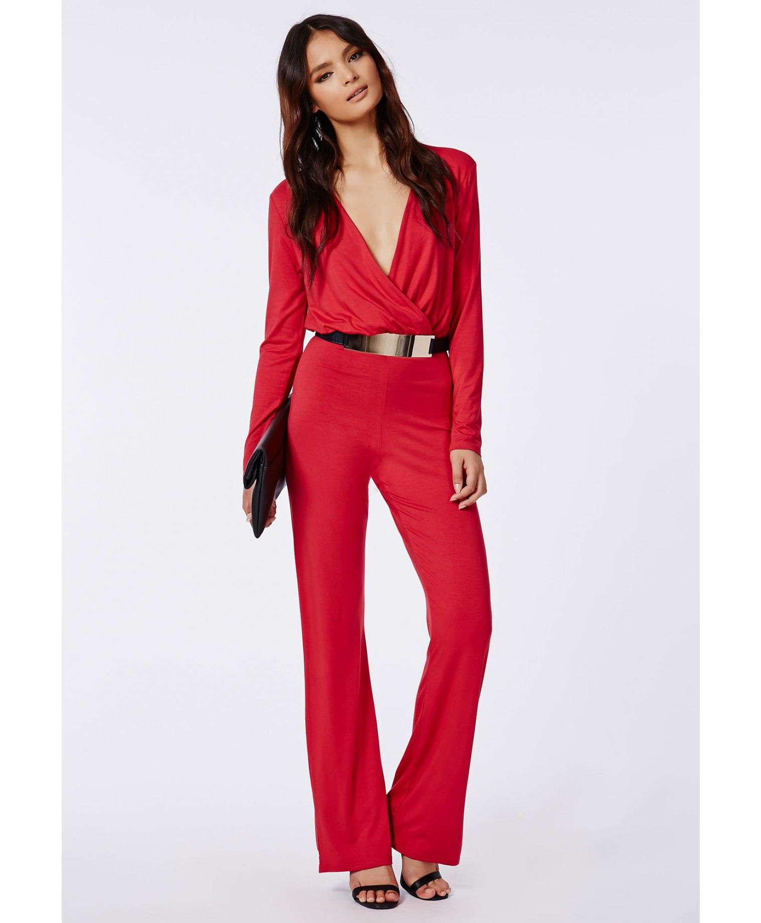 8752e6226ae Deliana Long Sleeved Wrap Wide Leg Jumpsuit Red - Jumpsuits - Missguided