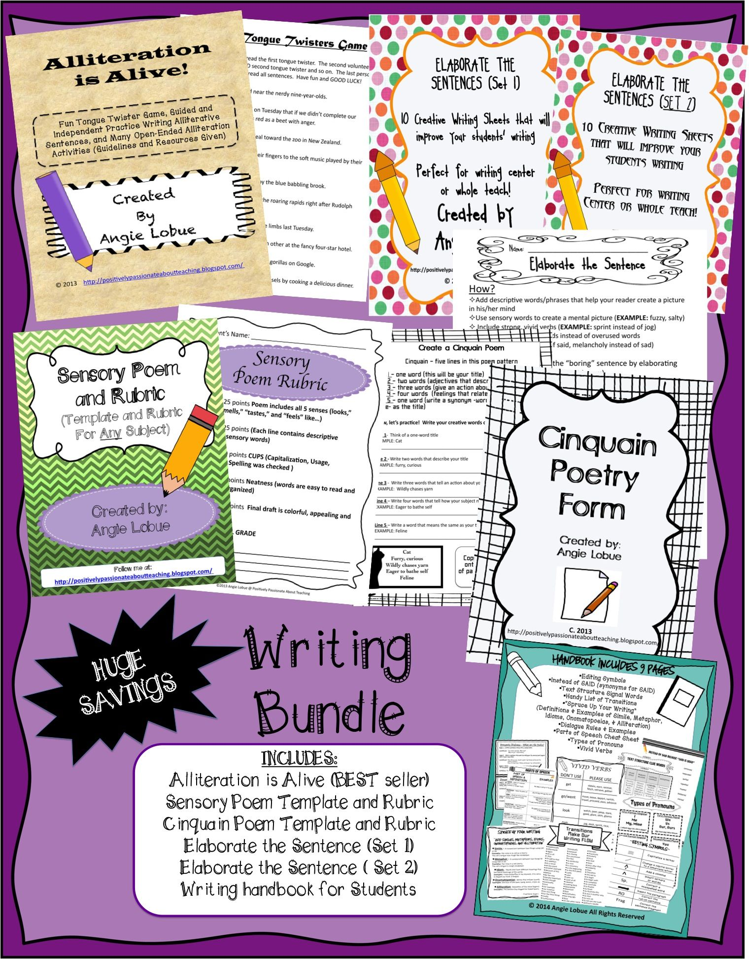 Writing Bundle Handouts Alliteration Poetry Rubrics And More