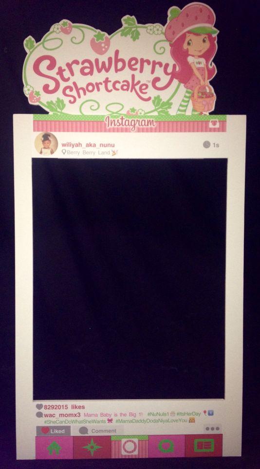 Selfie frame, photo prop, Instagram frame, strawberry shortcake ...