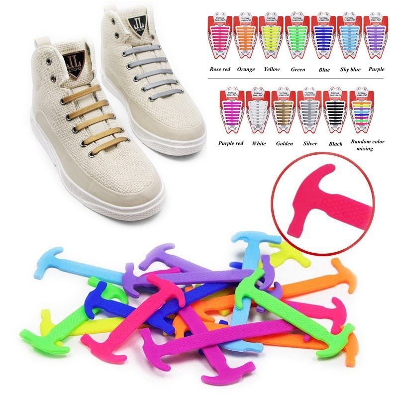 NO TIE Lazy Shoelaces Quick Easy Sneaker Elastic Shoe Laces One-handed Shoelace