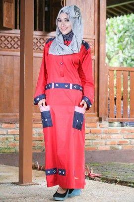 Baju Muslim Modis Warna Merah Cabe Sangat Cocok Sebagai Baju Muslim