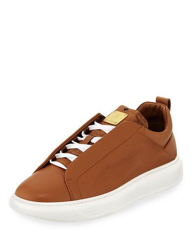e67806a0a0f MCM | Men's Grain Leather Low-Top Sneakers with Visetos Trim - Brown ...