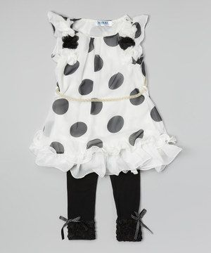 Look at this #zulilyfind! White Polka Dot Dress & Leggings - Infant & Toddler by Wenchoice #zulilyfinds