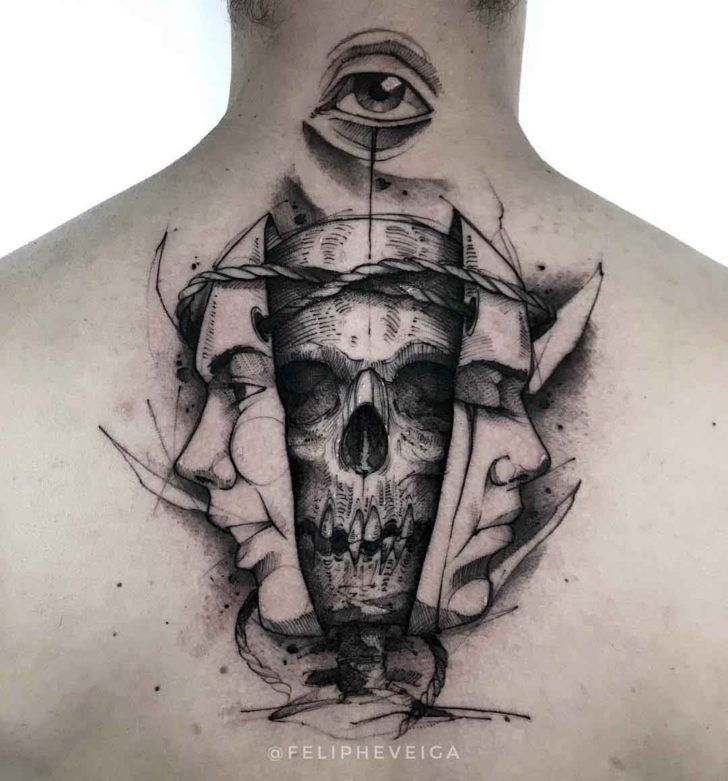 Photo of Masques de tatouage et crâne sur le cou # masques # col # tatouage # crâne