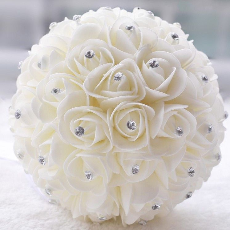 Crystal And White Wedding Theme: Beautiful White Ivory Artificial Flower Wedding Bouquets