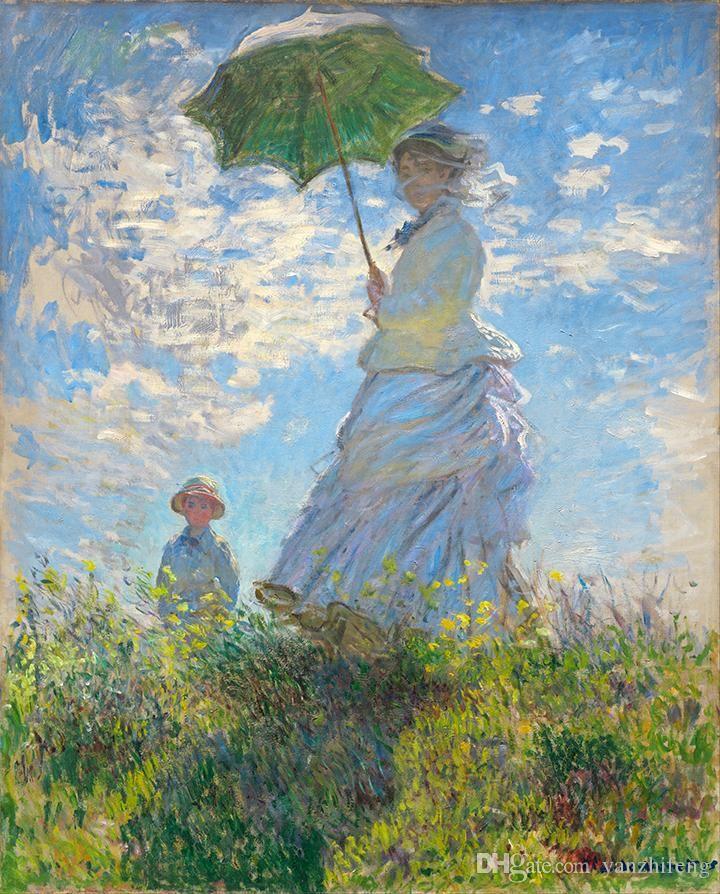 Hot Sale Peintures La Série De Monet Des Œuvres Sortie Printanière Village De Peinture À L'huile De Base À Haute