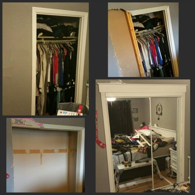 I Widened My Closet Opening And Added Mirrored Closet Doors The Opening Was Ridiculously Narrow Closet Door Makeover Closet Doors Bedroom Closet Doors