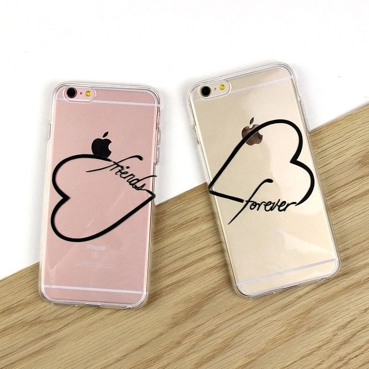 Set of 2 - Black or White Friends Forever Hearts Clear TPU ...