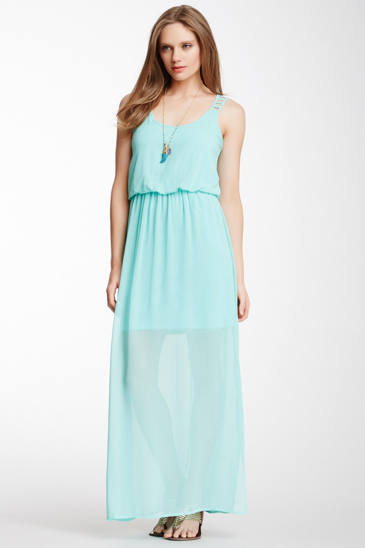 2bee06613 Socialite Socialite Lattice Back Solid Chiffon Maxi Dress | Nordstrom Rack