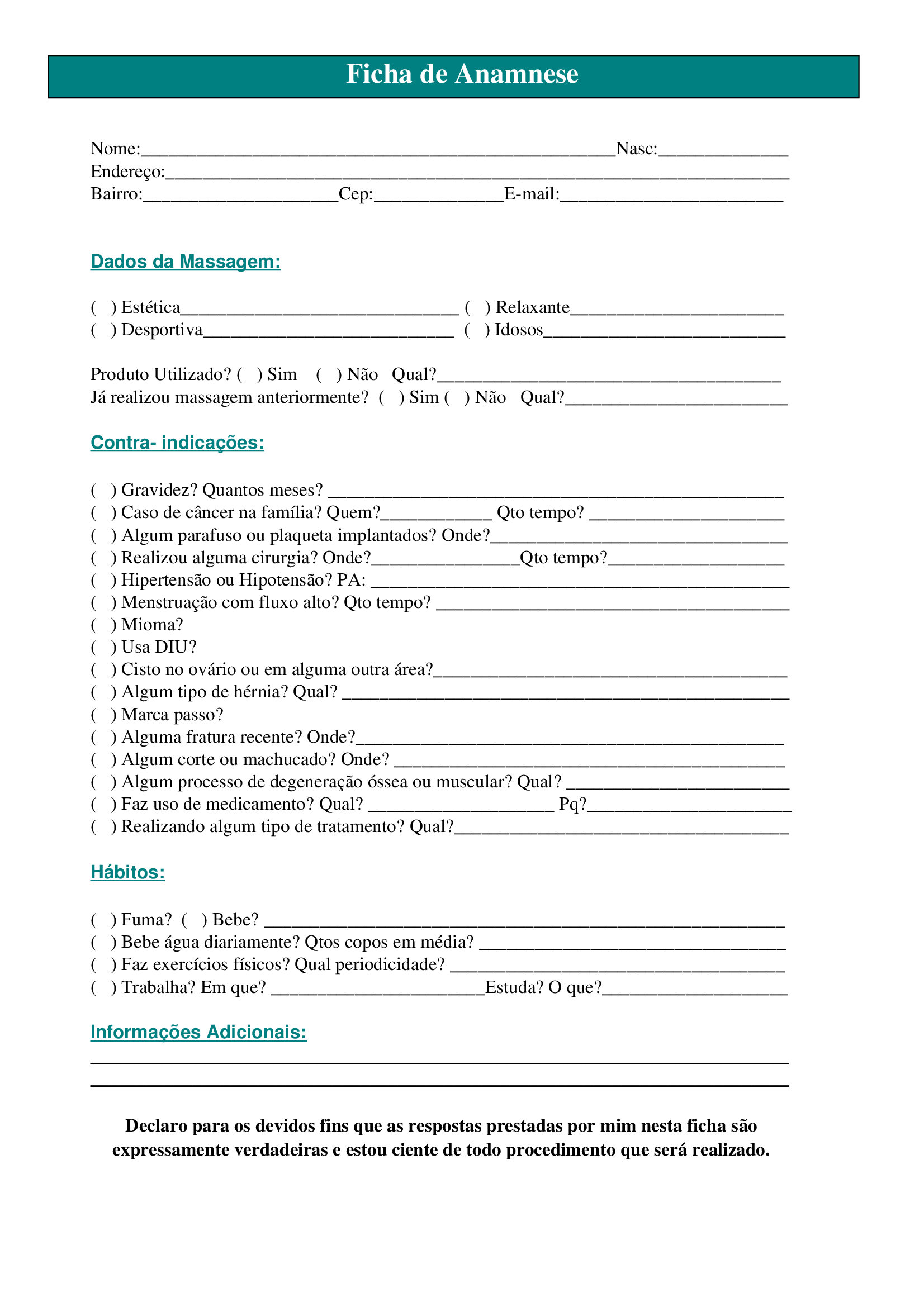 Ficha de Anamnese Nome