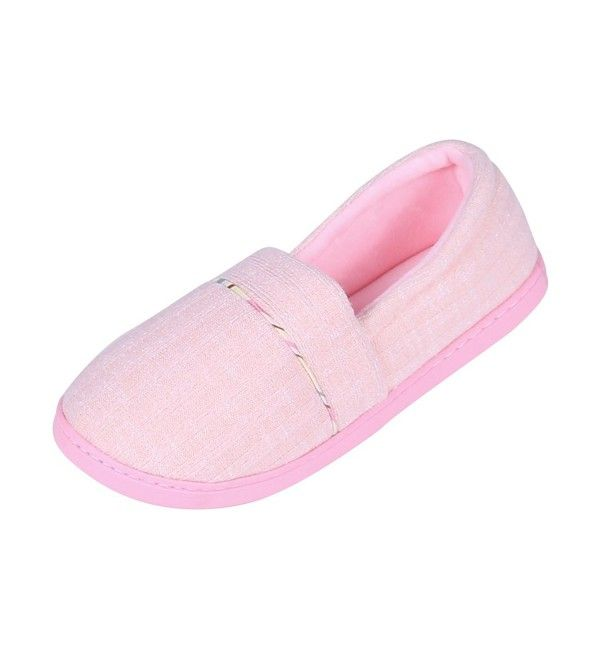 7149e85c2 Womens Comfortable Slip-On Home Cotton Casual Slippers Washable Knit Cotton  Anti-Slip House Shoes - Pink - C0186HMYDXA