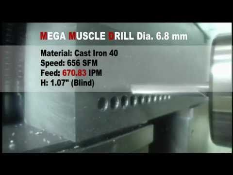 OSG's Mega Muscle Drill is designed specifically for drilling at feed rates 1.5 to 2 times faster than 2-flute drills. It may also be used at lower RPMs, which decreases the amount of wear and prolongs tool life. This design also leads to higher hole accuracy with less work hardening, which gives secondary operations such as tapping even more tool life.