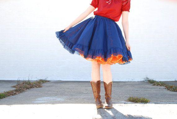 Vintage blue circle skirt burgundy peasant top by RoseleinRarities