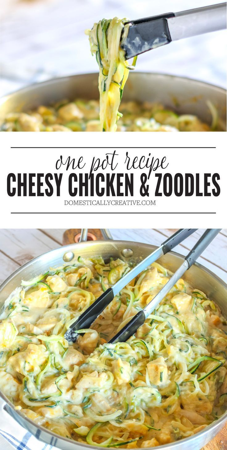 One Pot Cheesy Chicken and Zoodles -  One pan is all you need to cook this crazy easy and deliciously cheesy Chicken and Zoodles dish tha - #beetatto #cheesy #chicken #dinnerrecipes #foottatto #forearmtatto #Pot #sistertatto #skulltatto #tattofamily #tattovrouw #zoodles