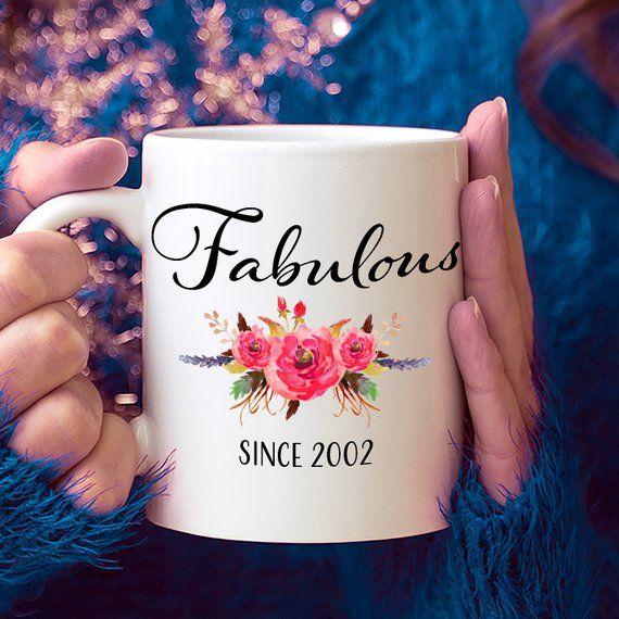 17th Birthday Ideas, 17 Year Old Woman, 17 Year Old Gifts for Women, 17th Birthday Gifts for Her, Fabulous Since 2002 Mug, 17 Yr Old Girl #17thbirthday