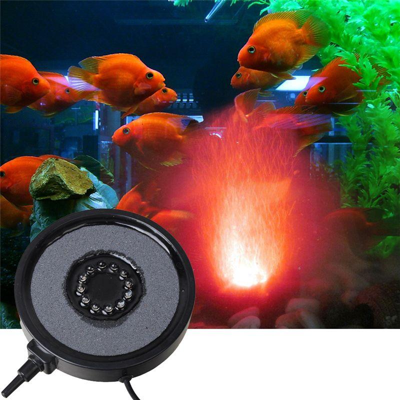 Mini Submersible Colorful 12 LED Light Air Curtain Bubbles Aquarium Accessories