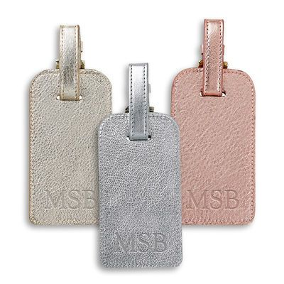Personalized Metallic Leather Luggage Tags